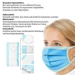 Mundschutzmaske aus verdicktem Stoff, staubdicht, atmungsaktiv, 3-lagig, 20 Stück
