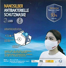 Atemschutzmaske Mundschutzmaske Nanosilber Waschbar antiviral antibakteriell 3 lagig 2 Stück